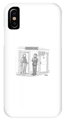 Early Sexting -- An Old-style Bellhop Reads An IPhone Case