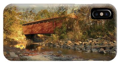 Everett Rd Summit County Ohio Covered Bridge Fall IPhone Case
