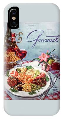 Gourmet Cover Illustration Of A Plate Of Antipasto IPhone Case