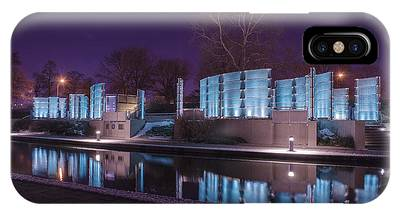 Indianapolis Canal Walk Medal Of Honor Memorial Night Lights IPhone Case
