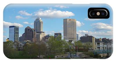 Indianapolis Skyline Blue 2 IPhone Case
