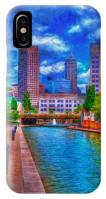 Indianapolis Skyline Canal View Digitally Painted Blue IPhone Case