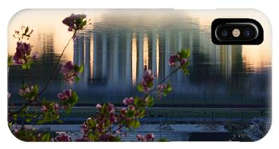 Jefferson Memorial Reflection With Cherry Blossoms IPhone Case