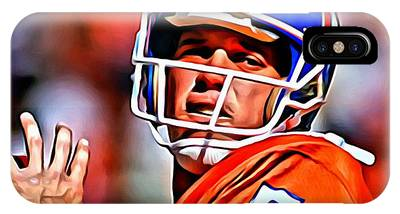 IPhone Case featuring the painting John Elway by Florian Rodarte