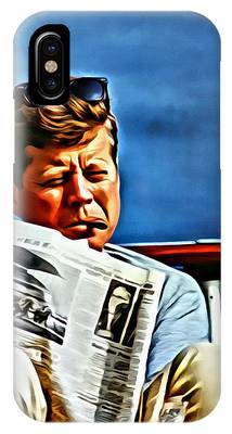 IPhone Case featuring the painting John F Kennedy by Florian Rodarte