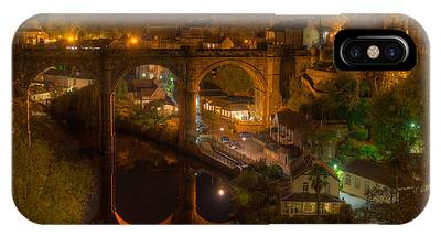 IPhone Case featuring the photograph Knaresbrough Viaduct At Night Reflection by Dennis Dame