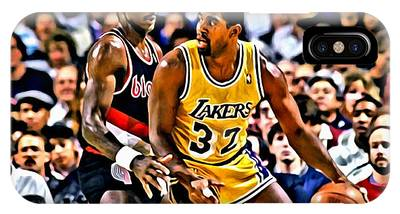 IPhone Case featuring the painting Magic Johnson Vs Clyde Drexler by Florian Rodarte