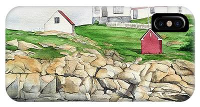 Cape Neddick Lighthouse Paintings iPhone Cases