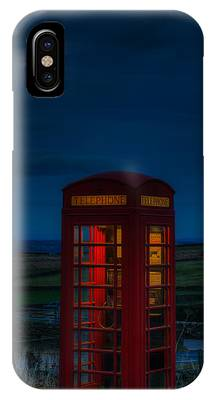 IPhone Case featuring the photograph Moon Over Telephone Booth by Dennis Dame