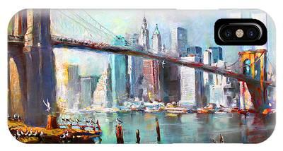 Manhattan Skyline Paintings iPhone Cases