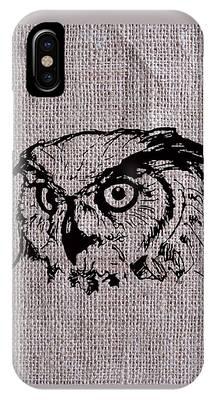 Owl On Burlap IPhone Case
