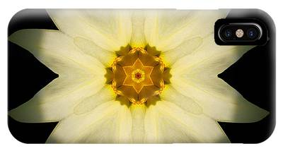 Pale Yellow Daffodil Flower Mandala IPhone Case