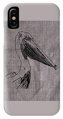 Pelican On Burlap IPhone Case