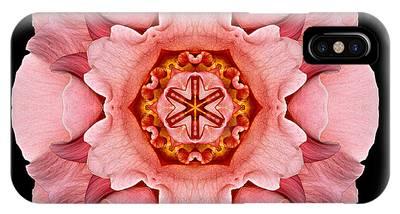 Pink And Orange Rose Iv Flower Mandala IPhone Case