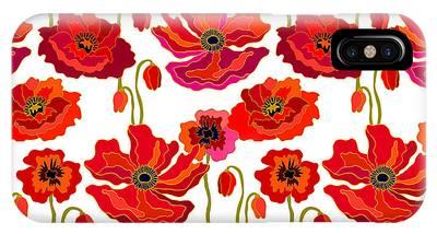 Poppies Digital Art iPhone Cases