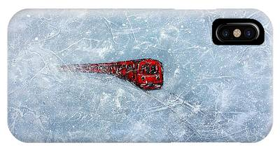 Red Train Braving The Winter IPhone Case