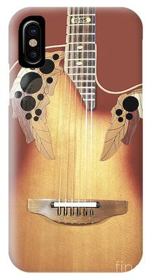IPhone Case featuring the photograph Redish-brown Guitar On Redish-brown Background by Richard J Thompson