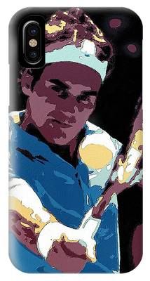 IPhone Case featuring the painting Roger Federer Portrait Art by Florian Rodarte