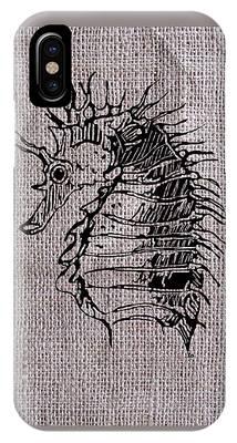 Seahorse On Burlap IPhone Case