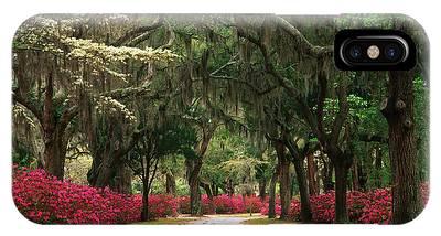 Usa, Georgia, Savannah, Road Lined Phone Case by Adam Jones