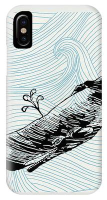 Whale On Wave Paper IPhone Case