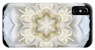 White Begonia II Flower Mandala IPhone Case