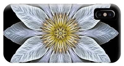 White Clematis Flower Mandala IPhone Case