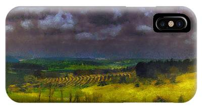 IPhone Case featuring the photograph Storm Clouds Over Meadow by Michael Goyberg