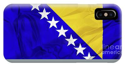 IPhone Case featuring the digital art Flag Of Bosnia by Benny Marty