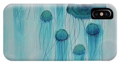 IPhone Case featuring the painting Jellyfish Ballet by Kim Nelson