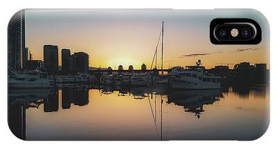 IPhone Case featuring the photograph Quayside Marina At Sunrise by Andy Konieczny