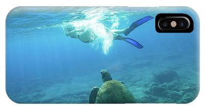 IPhone Case featuring the photograph Snorkeler Female Sea Turtle by Benny Marty