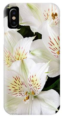IPhone Case featuring the photograph White Peruvian Lilies In Bloom by Richard J Thompson