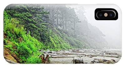 Arcadia Beach In Morning Fog Phone Case by Lincoln Rogers