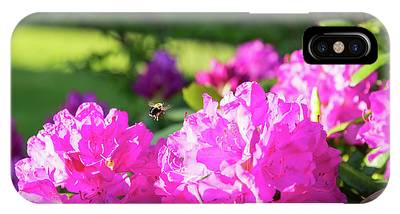 Bee Flying Over Catawba Rhododendron IPhone Case