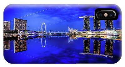 IPhone Case featuring the digital art Blue Hour At Marina Bay by Kevin McClish