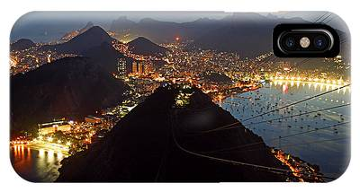 IPhone Case featuring the photograph Brasil,rio De Janeiro,pao De Acucar,viewpoint,panoramic View,copacabana At Night by Juergen Held