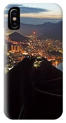 Brasil,rio De Janeiro,pao De Acucar,viewpoint,panoramic View,copacabana At Night IPhone Case by Juergen Held