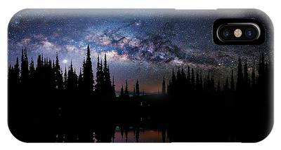 Canoeing - Milky Way - Night Scene IPhone Case