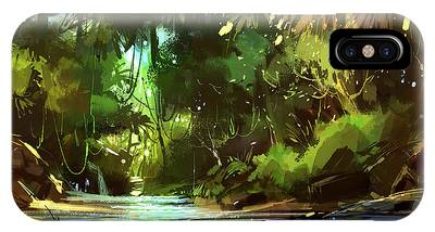 Cascades In Forest IPhone Case