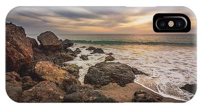 IPhone Case featuring the photograph Cloudy Point Dume Sunset by Andy Konieczny