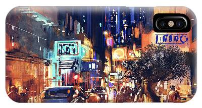 Colorful Night Street IPhone Case