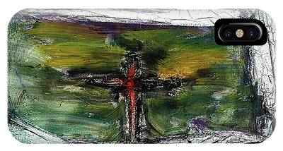 IPhone Case featuring the painting Crucifixion #3 by Michael Lucarelli