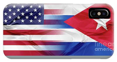 IPhone Case featuring the photograph Cuba And Usa Flags by Benny Marty