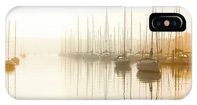 Dawn Reflections - Yachts At Anchor On The River IPhone Case