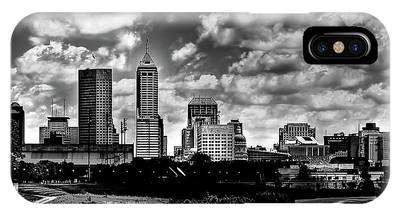 Downtown Indianapolis Skyline Black And White IPhone Case