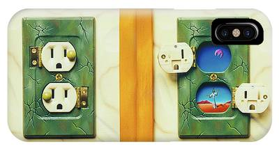 Electric View Miniature Shown Closed And Open IPhone Case
