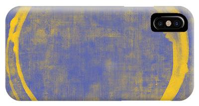 Blue Yellow Abstract Art iPhone Cases