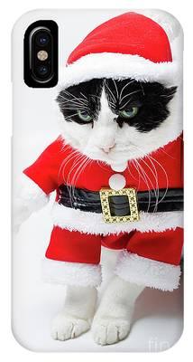 Feline Santa Claus IPhone Case by Benny Marty