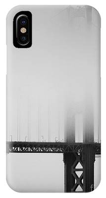 Fog At The Golden Gate Bridge 4 - Black And White IPhone Case